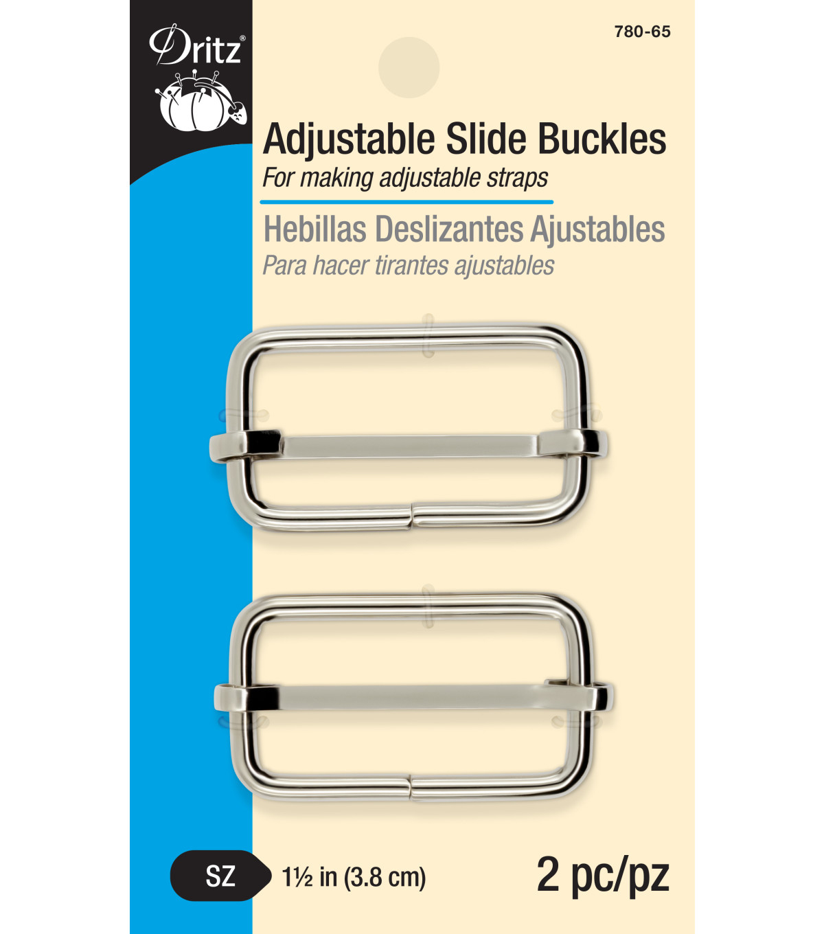 Dritz Adjustable Slide Buckles-Nickel