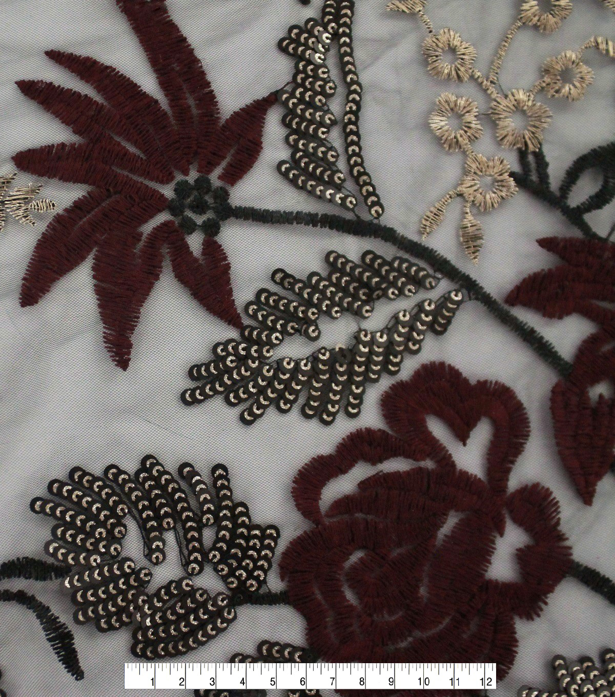 Casa Embellish Embroidered Sequin Fabric 56\u0027\u0027-Burgundy Floral