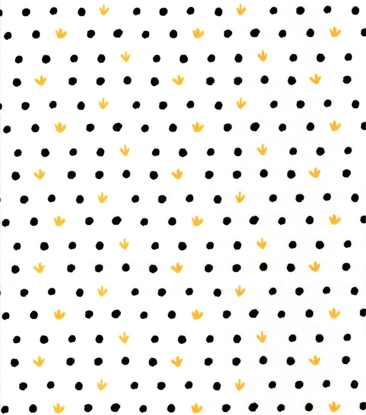 Nursery Flannel Fabric -Black & White Yellow Dots