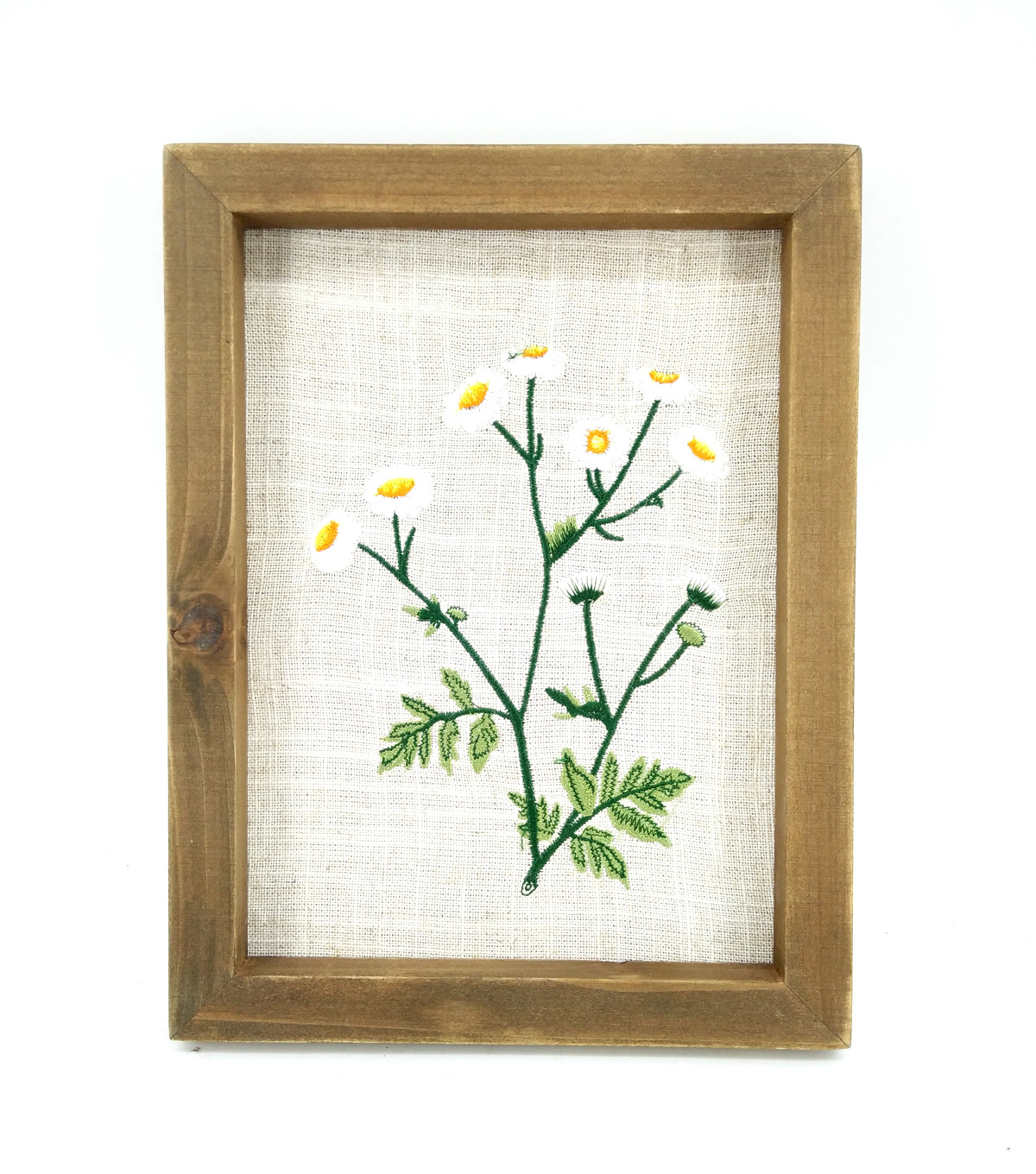 Simply Spring Small Embroidery Wood Wall Decor-White Floral