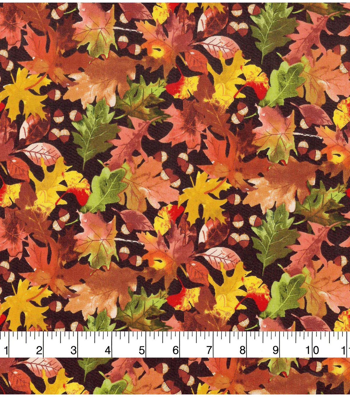 Harvest Cotton Fabric 44\u0022-Falling Acorns and Leaves