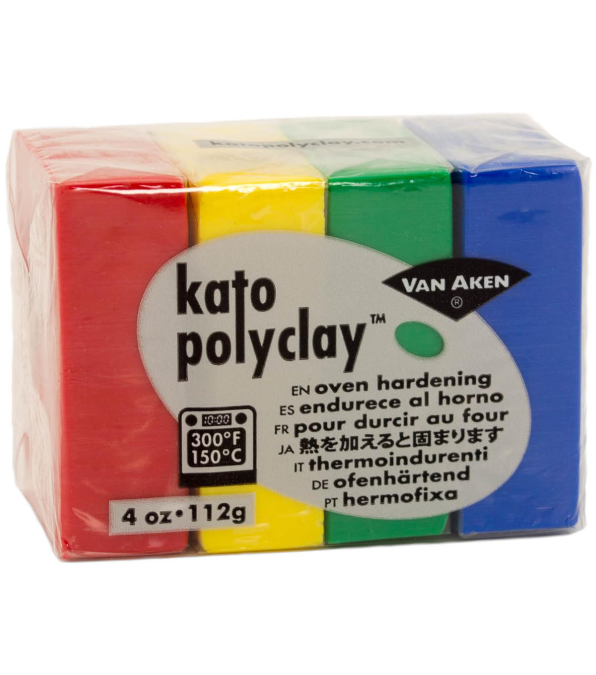 Van Aken Kato Polyclay 4 oz. Oven Hardening Set-Red, Yellow & Green