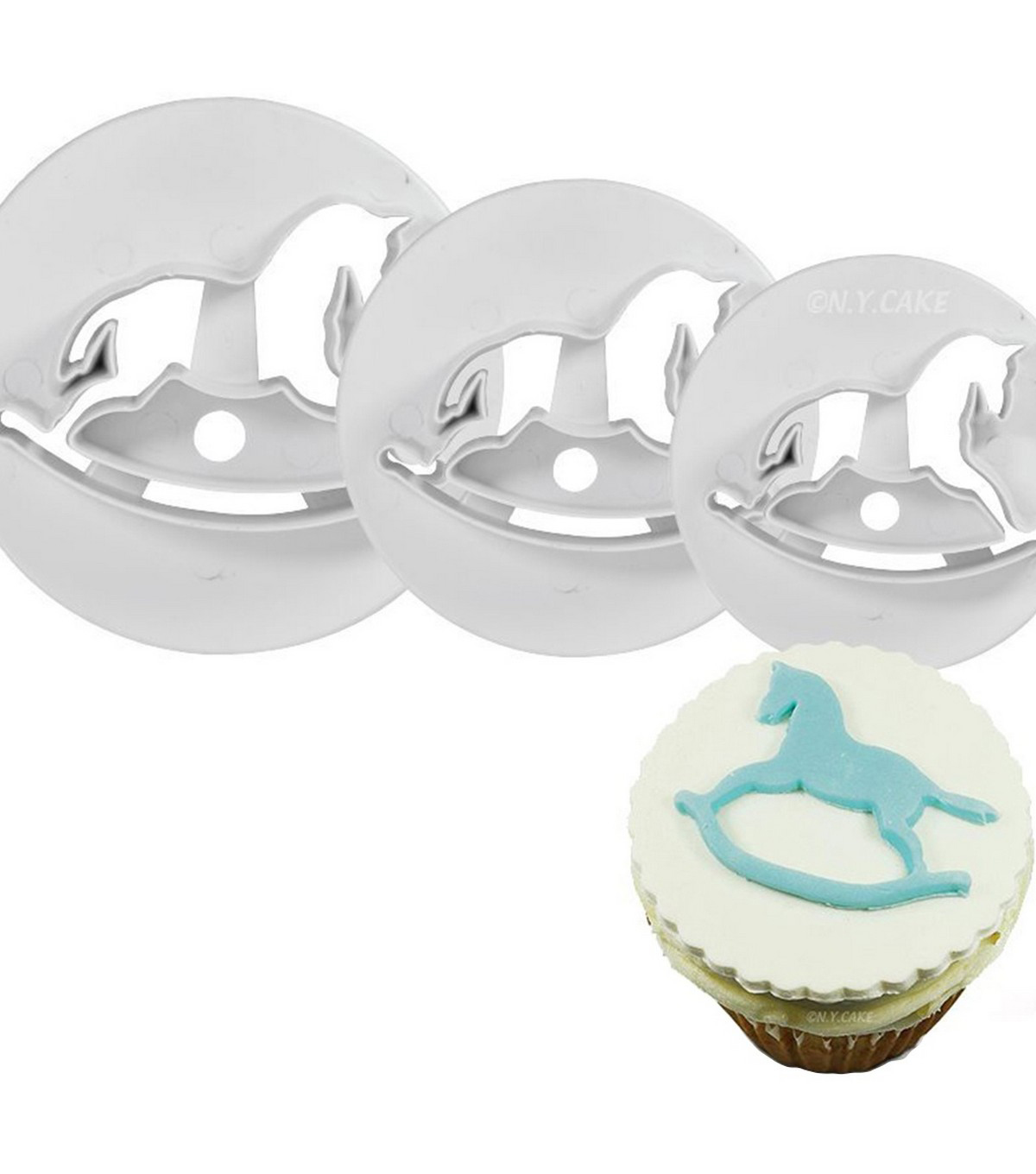 NY Cake 3 pk Plunger Cutters-Rocking Horse