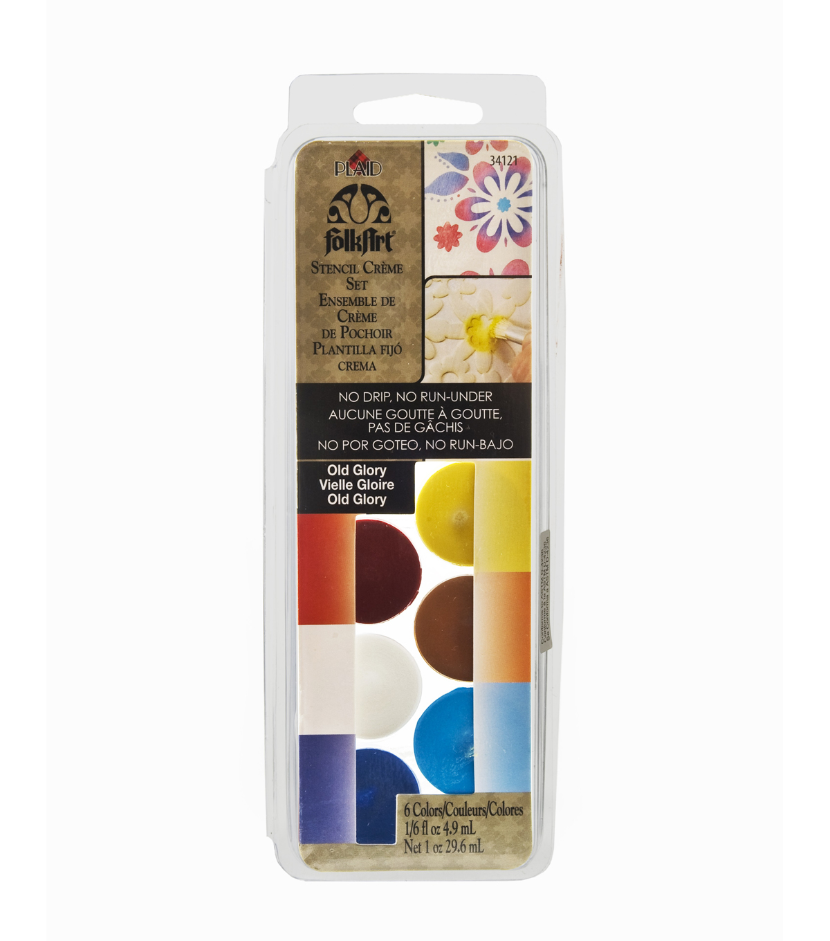 FolkArt Dry Brush Stencil Creme Set-Old Glory