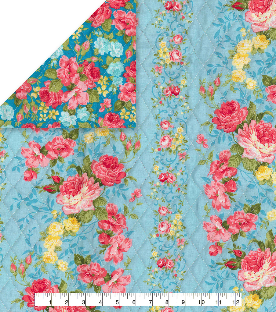 Double Faced Pre-Quilted Cotton Fabric -Blue Floral Stripe