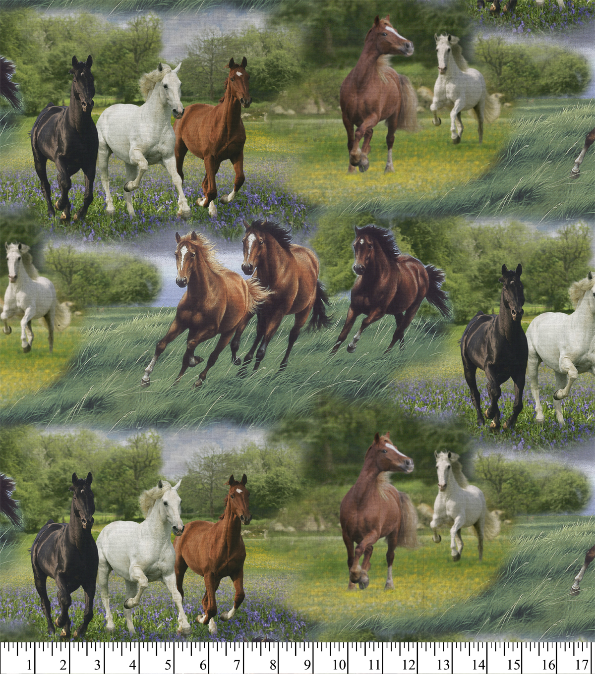 Novelty Cotton Fabric 44\u0027\u0027-Horses in The Grass
