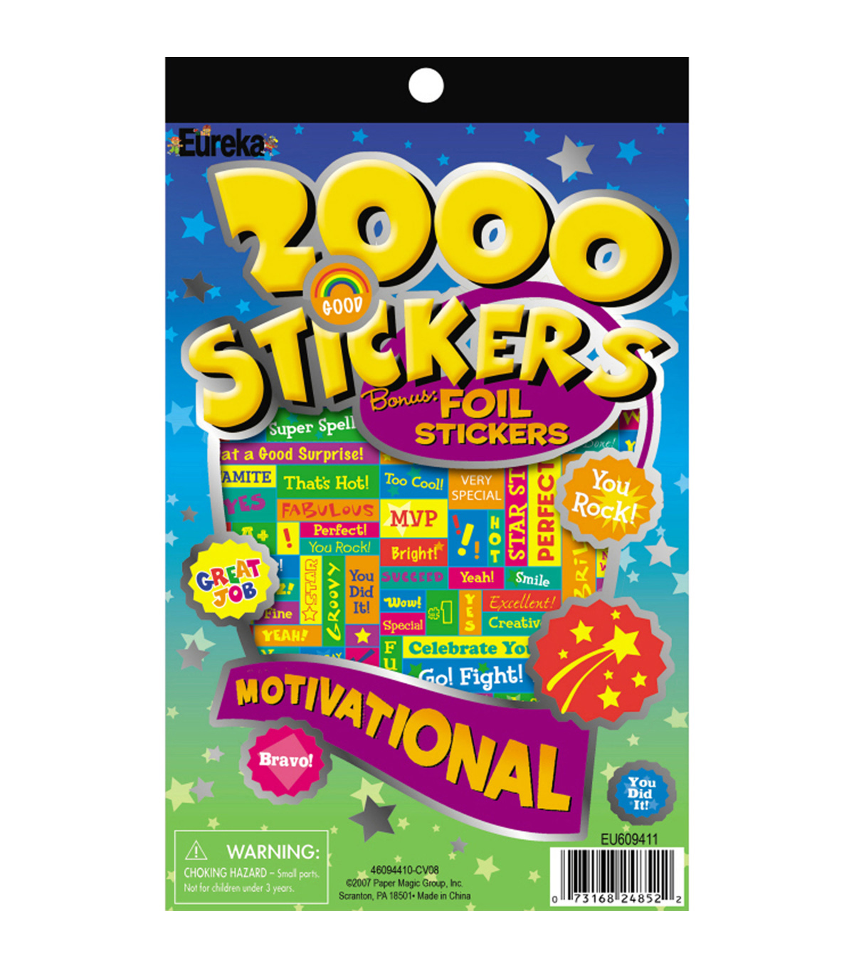 Eureka 2000 Motivational Sticker Book, 2000 Per Book, 6 Books