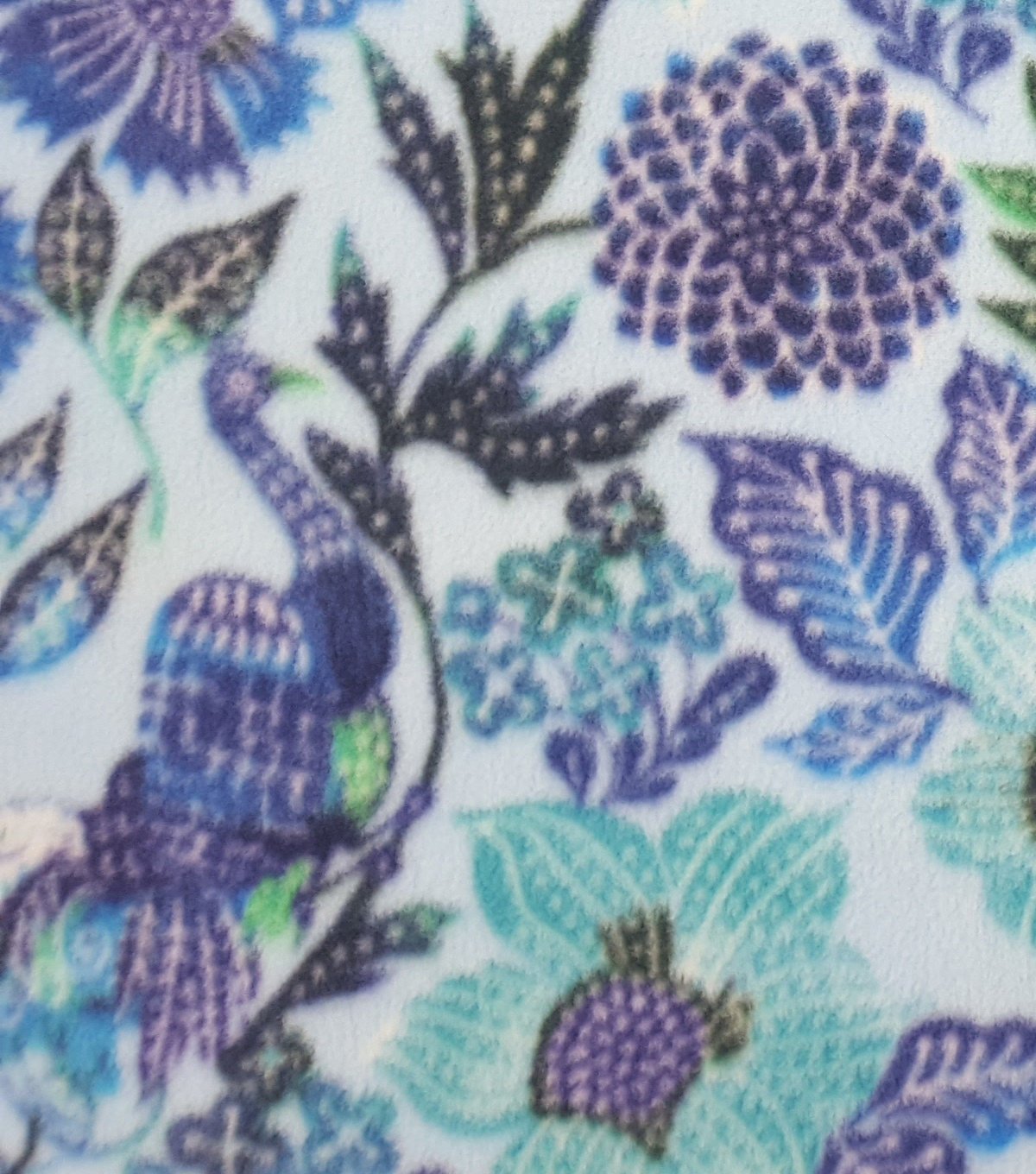 Anti-Pill Fleece Fabric 59\u0022-Flowers And Peacock