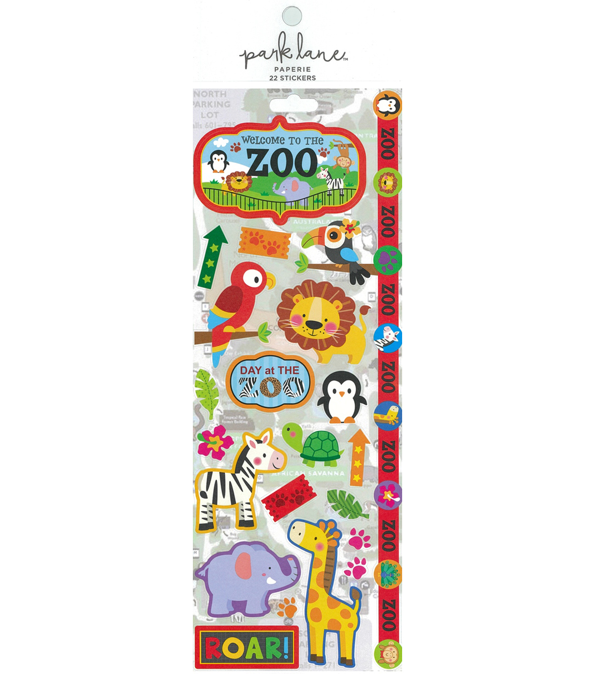 Park Lane Paperie 22 pk Cardstock Stickers-Zoo