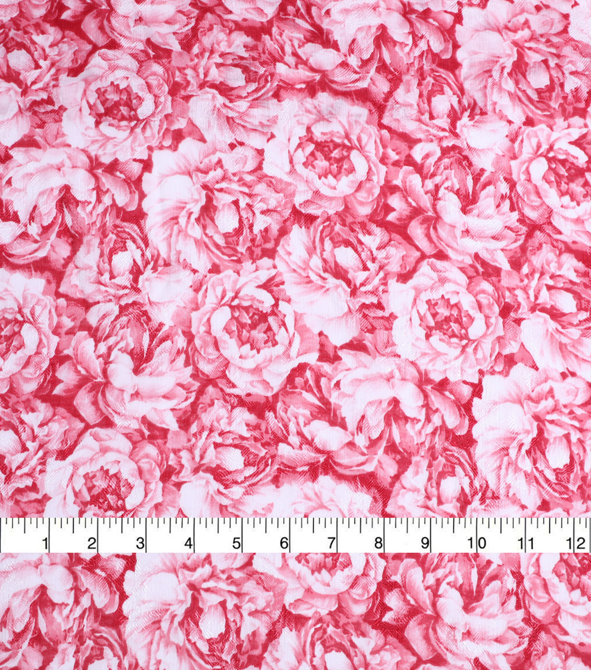 Check it Jacquard Fabric-Red & White Floral