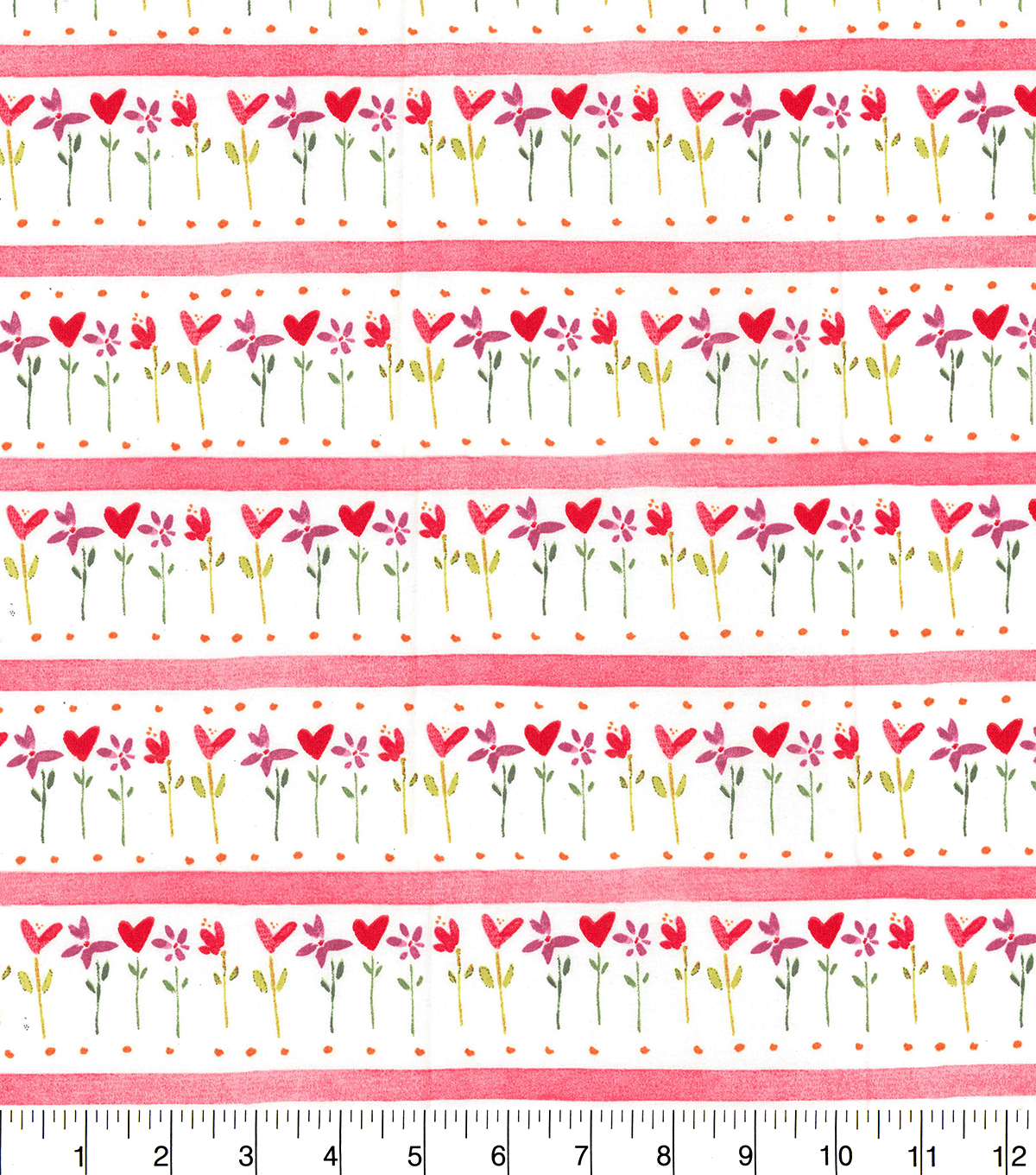 Valentine\u0027s Day Cotton Fabric-Hearts, Flowers & Stripes