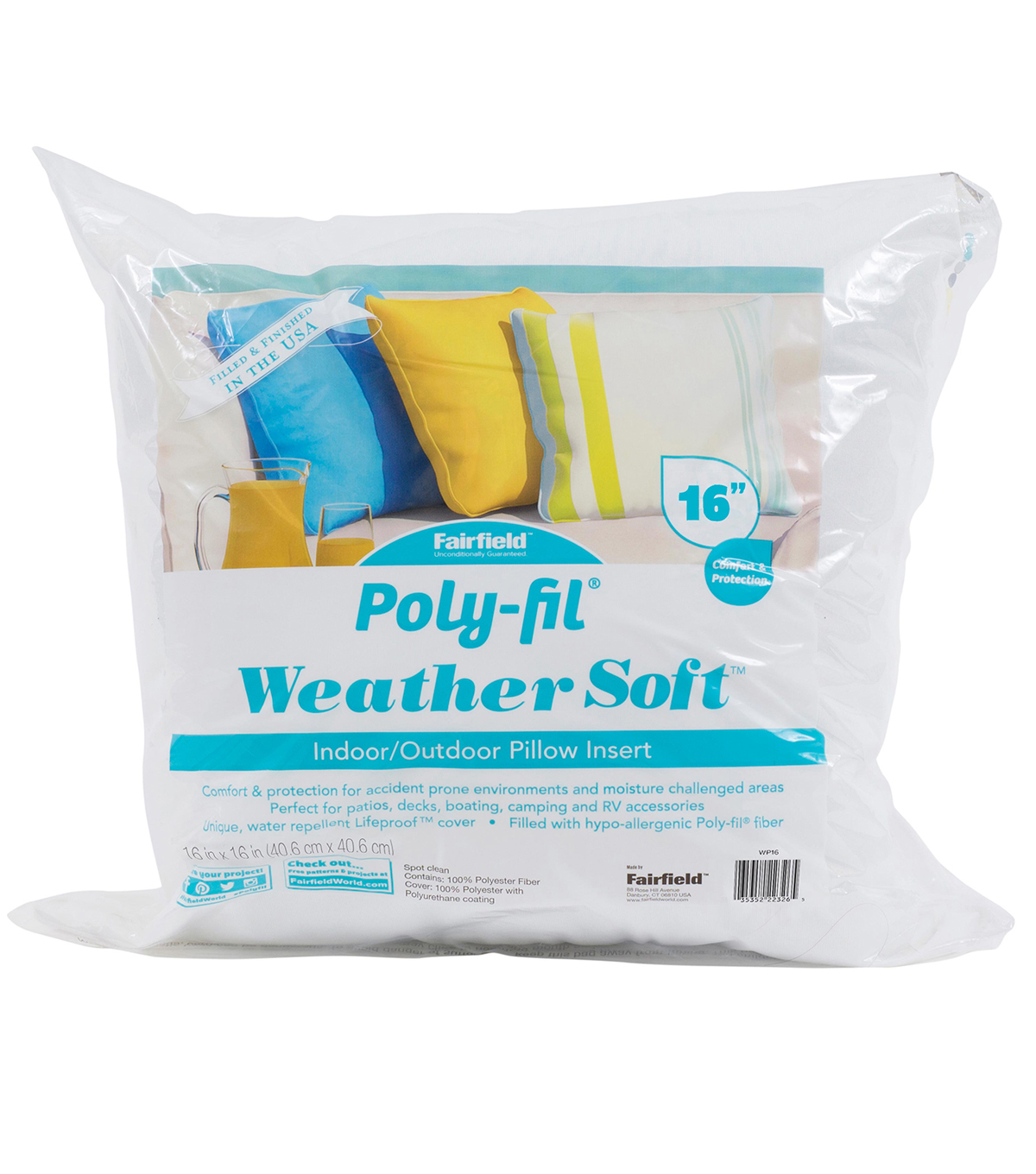 Poly-Fil Weather Soft Indoor / Outdoor Pillow Insert 16x16\u0022