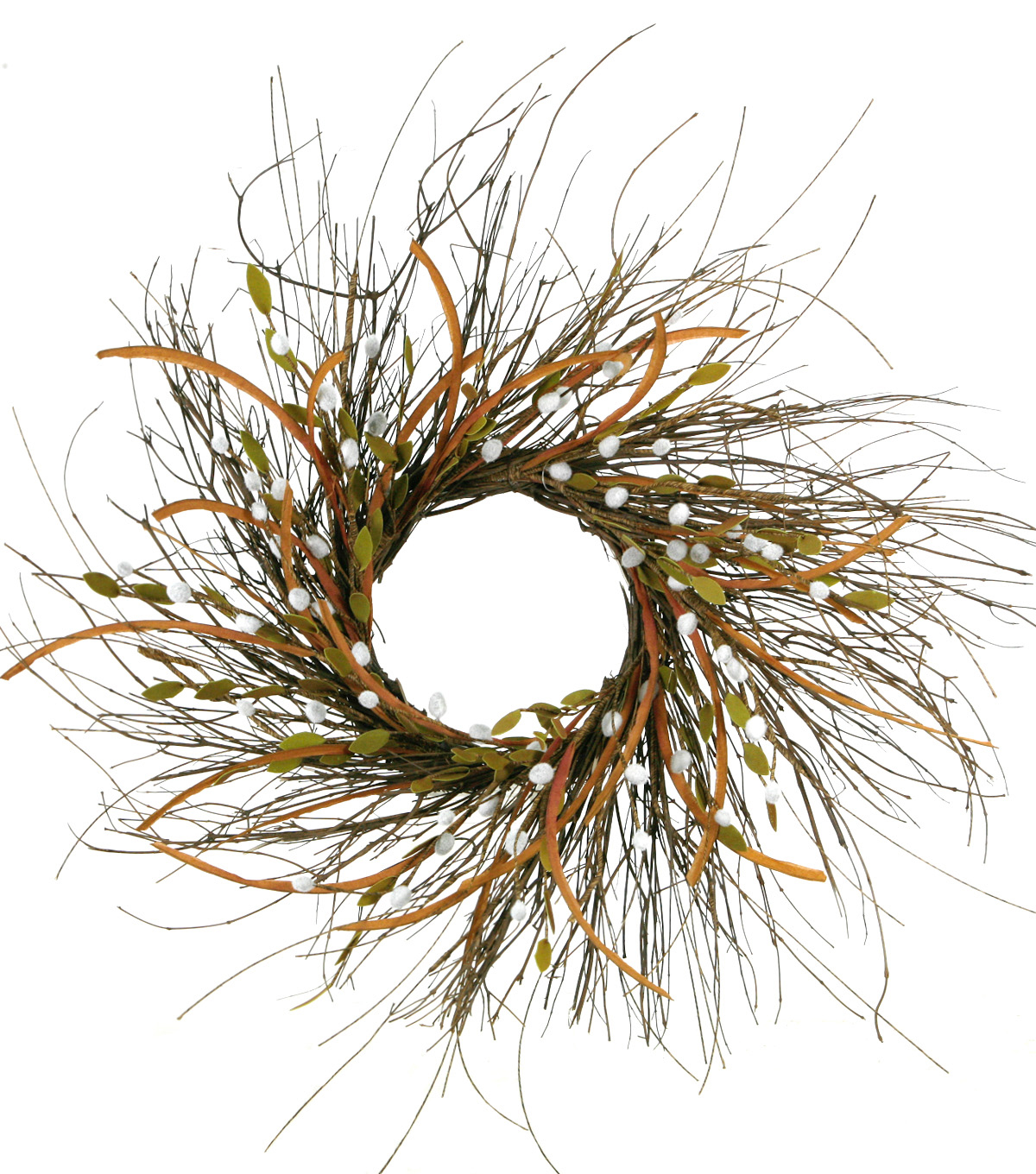 Blooming Autumn Pussy Willow & Twig Wreath-Green