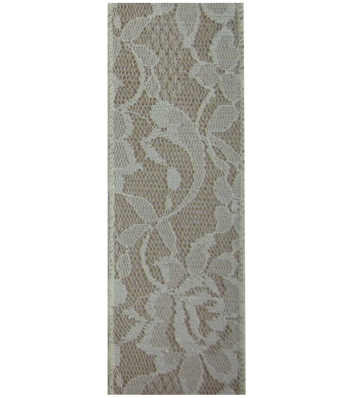 Decorative Ribbon 2.5\u0027\u0027x9\u0027 Lace with Burlap-Ivory