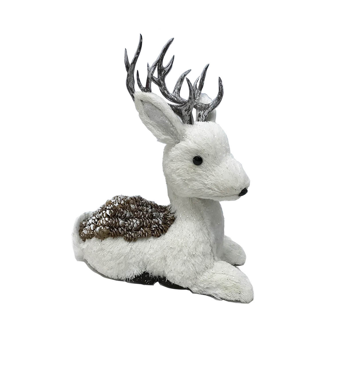 Blooming Holiday Christmas Pinecone Sitting Deer-White