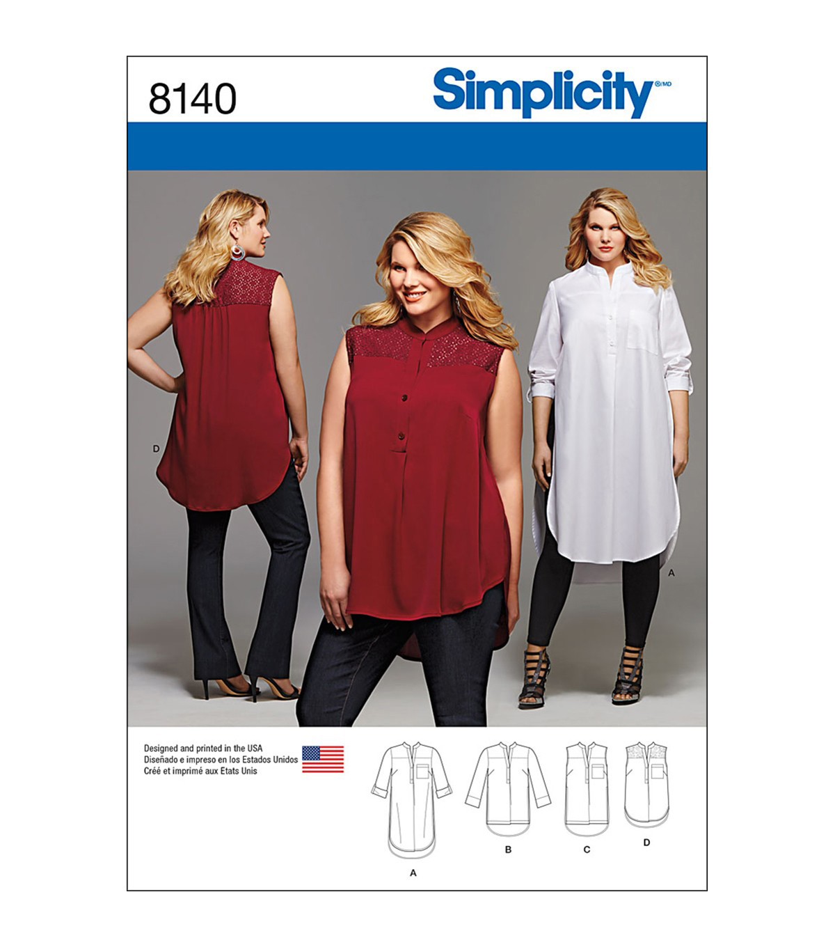 Simplicity Pattern 8140 Plus Size Shirt with Length & Sleeve Variations, 26w-28w-30w-32w