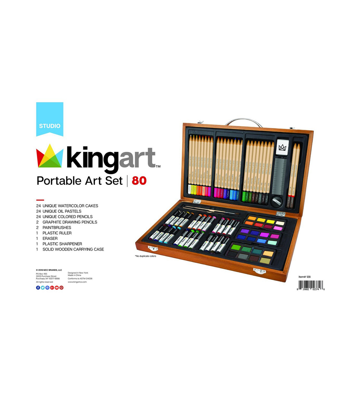 Art Set In Wood Case 80/Pkg-