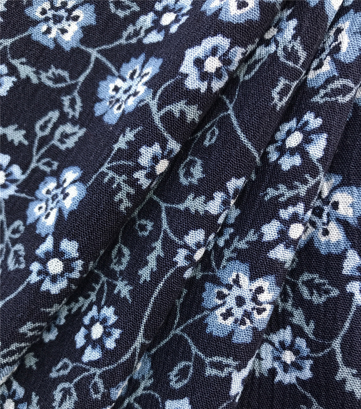 Americana Summer Crinkle Rayon Fabric-Navy Floral Blues