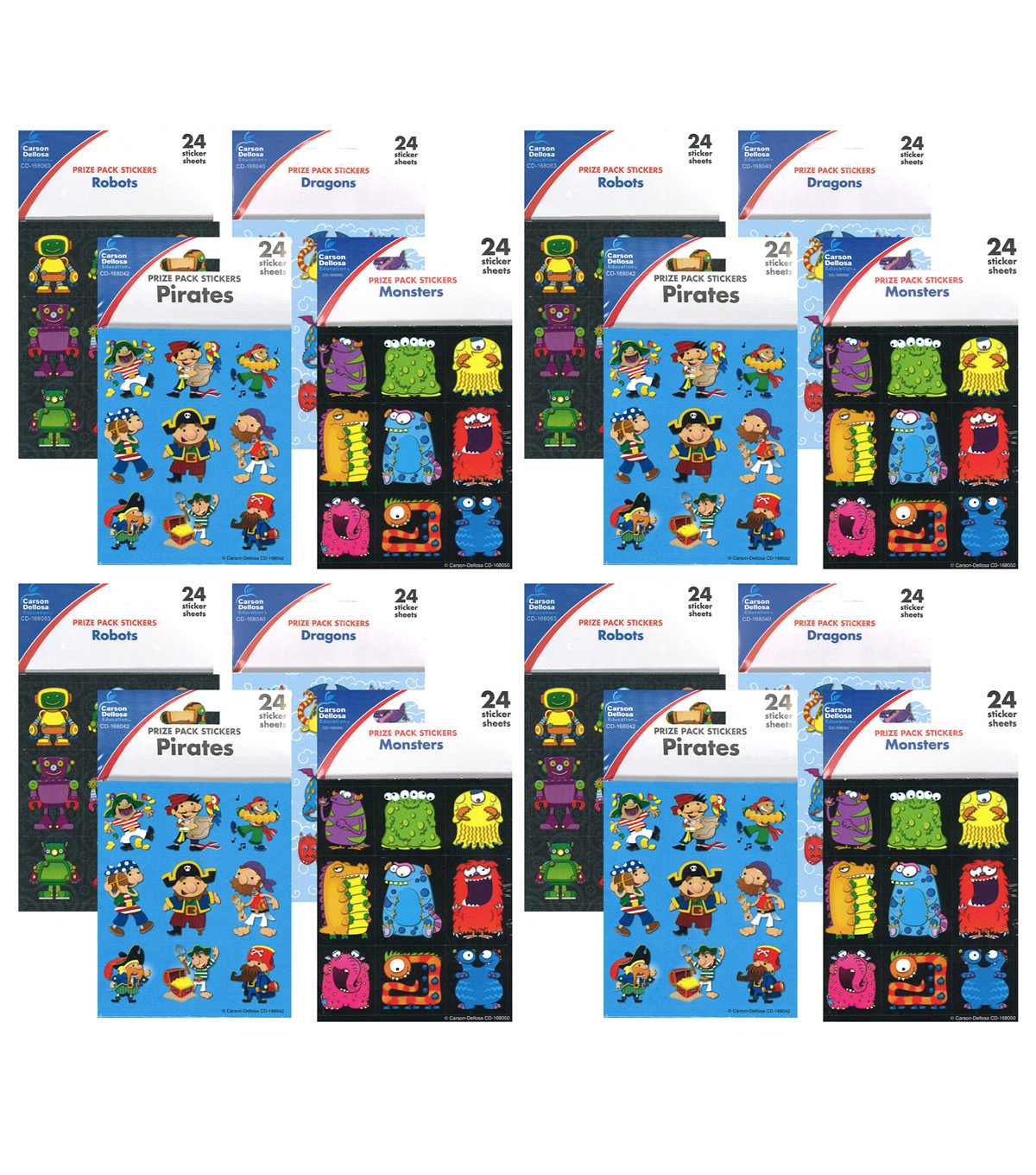 Carson Dellosa Boys Prize Pack Sticker Set 4 Packs
