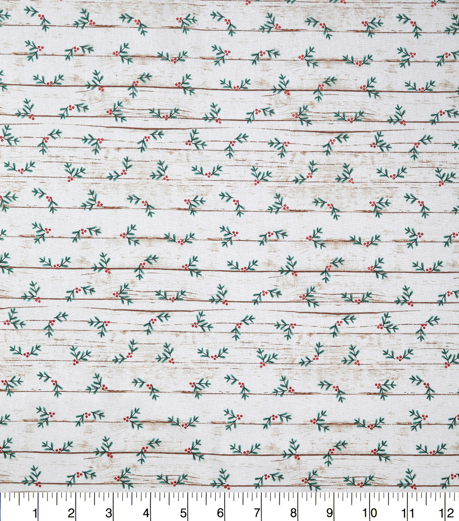 Christmas Cotton Fabric-Holly & Berry Wood Glitter