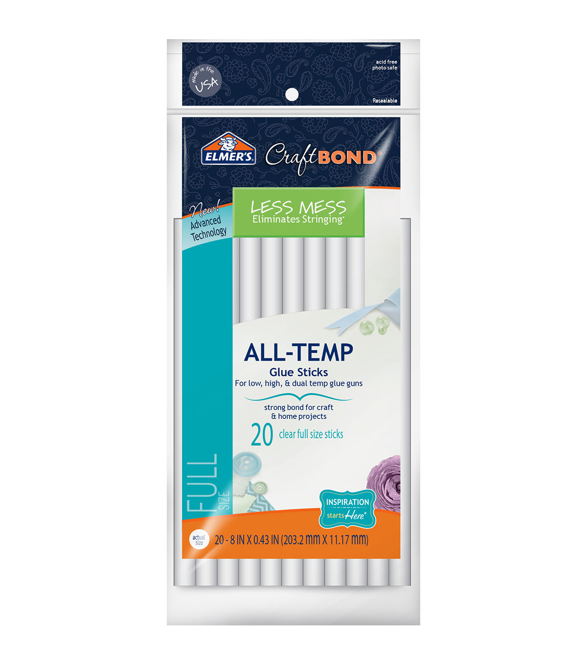 Elmer\u0027s CraftBond 8\u0022x0.43\u0022 20 pk Less Mess All-Temp Glue Sticks