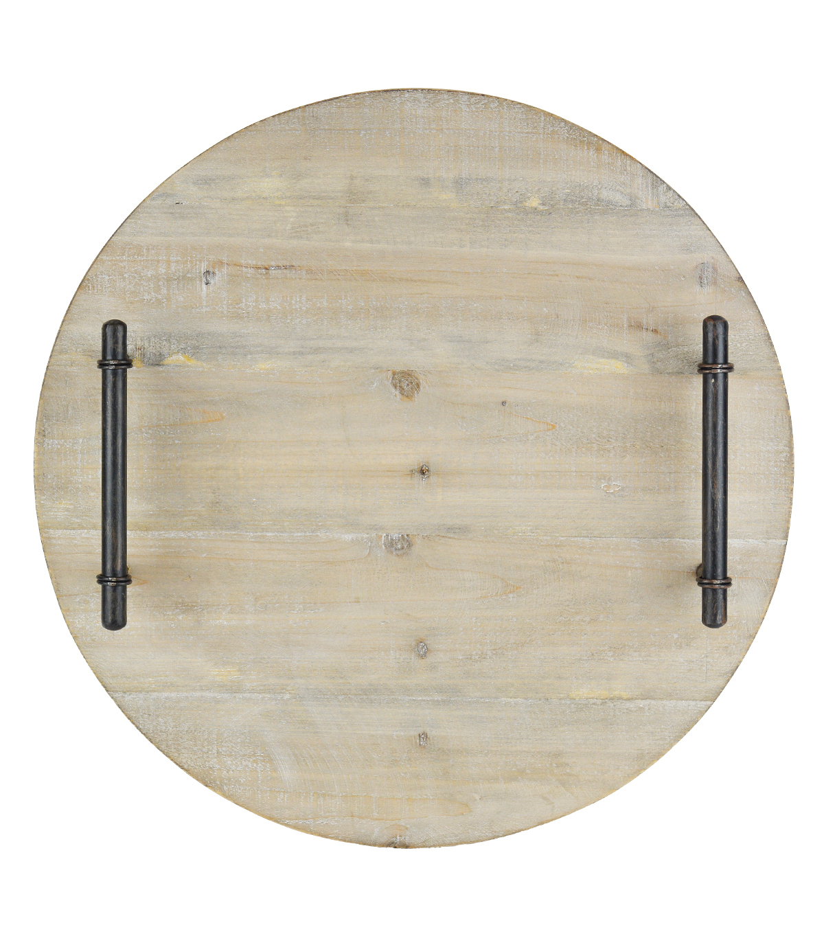 Hudson 43 Round Rustic Wooden Tray with Handles