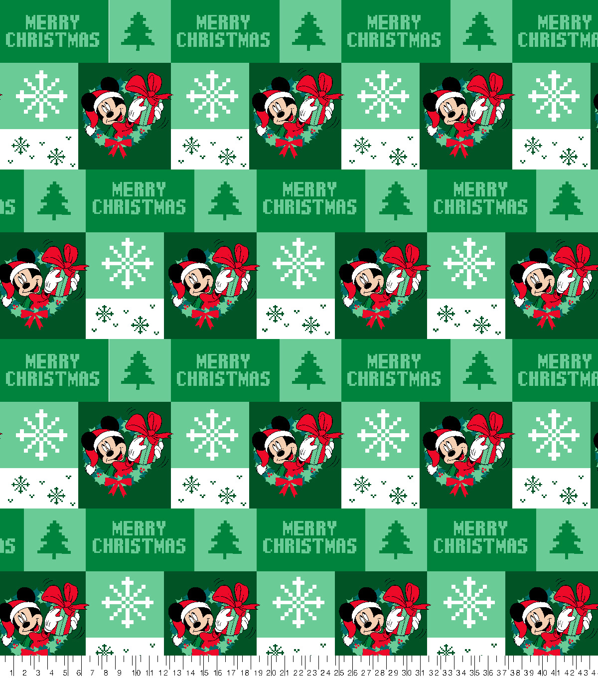 Disney Mickey Mouse Fleece Fabric-Ugly Sweater Green