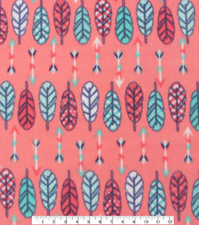 Blizzard Fleece Fabric -Feathers And Arrows