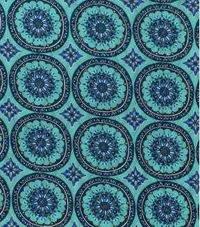 Double Faced Pre-Quilted Cotton Fabric 42\u0027\u0027-Paisley on Geometric