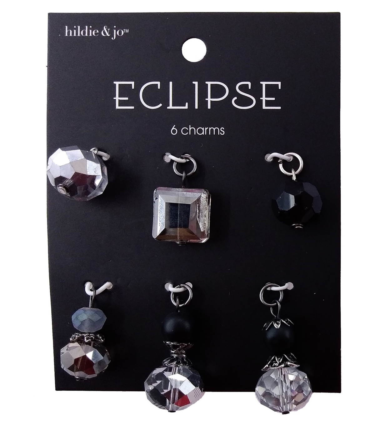 hildie & jo Eclipse Charms-Multi Black Clear Grey Stacked 6pc