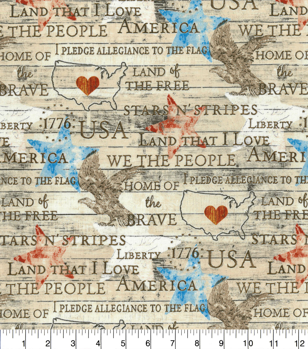 Patriotic Cotton Fabric-Americana Words on Wood