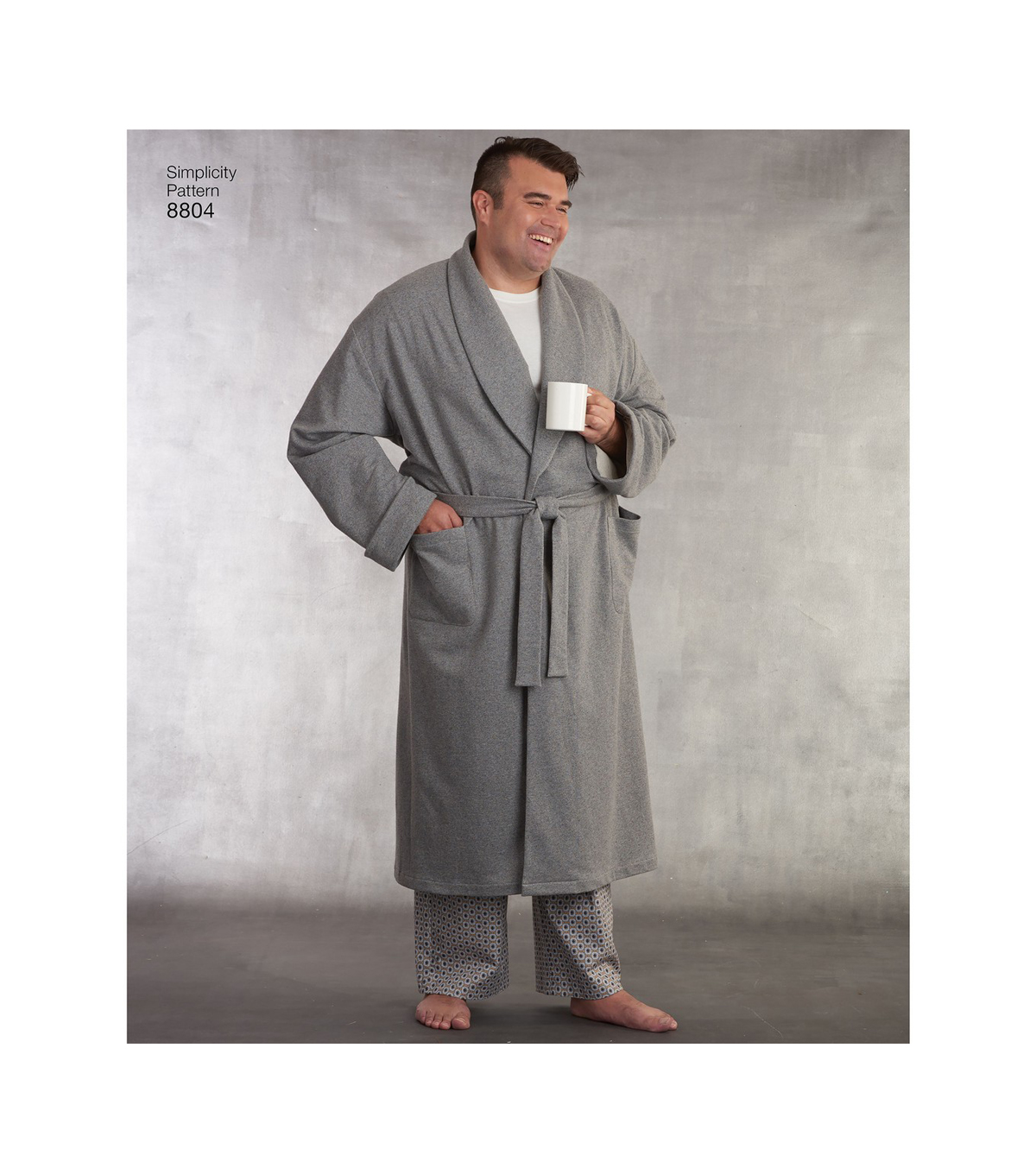 Simplicity Pattern 8804 Womens Plus & Mens Robe & Pants-Size BB (XL-3XL)
