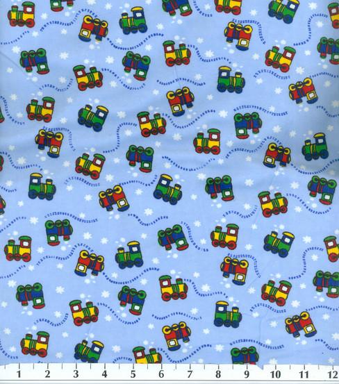 "Jo Ann Fabrics And Crafts Mall: Snuggle Flannel Fabric 42""-Choo Choo"