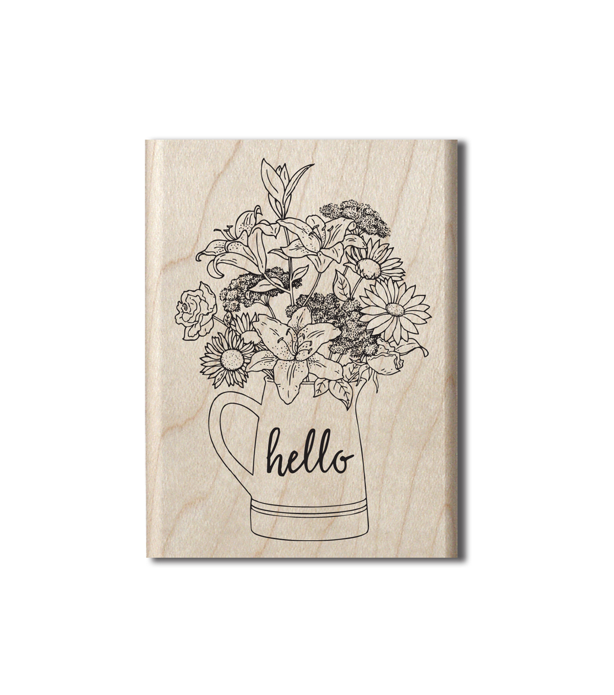 Hampton Art Wood Stamp-Hello Flowers