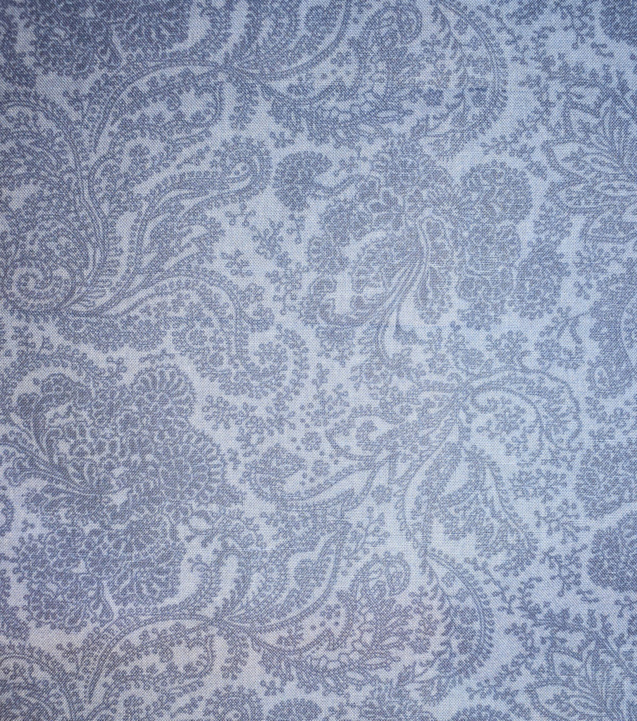 Premium Wide Cotton Fabric-Blue Twisted Paisley