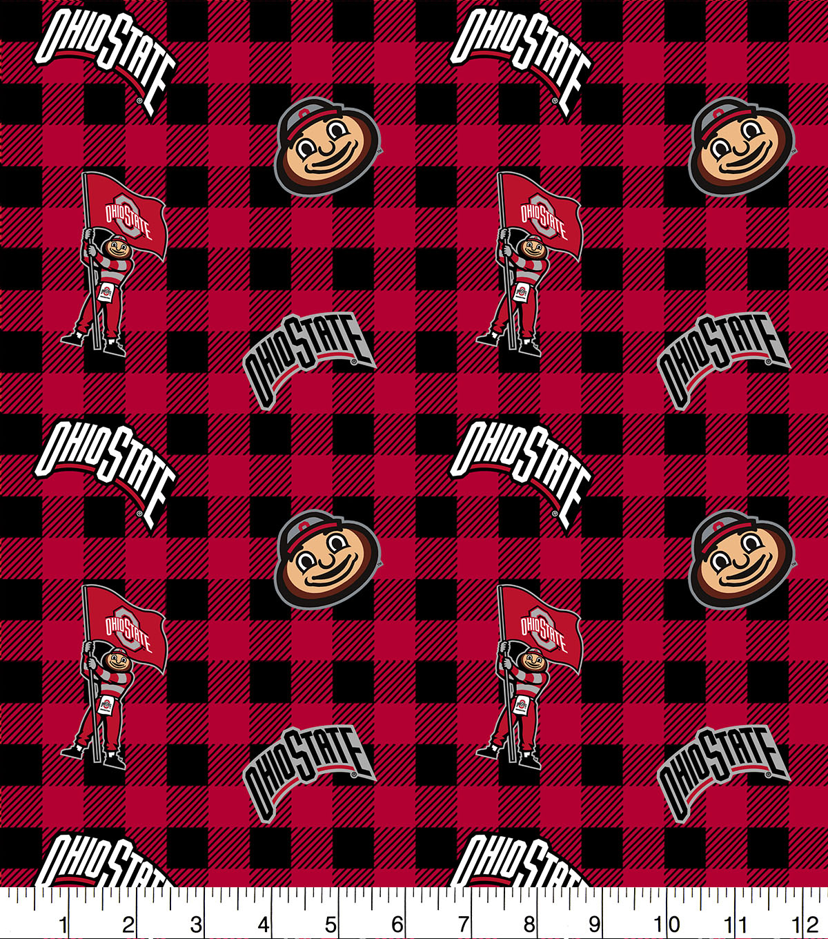 Ohio State University Buckeyes Cotton Fabric-Buffalo Plaid