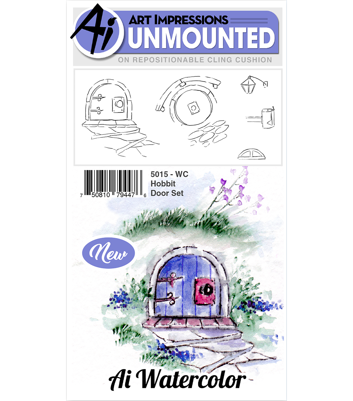 Art Impressions 5 pk Cling Rubber Stamps-Watercolor Hobbit Door Set
