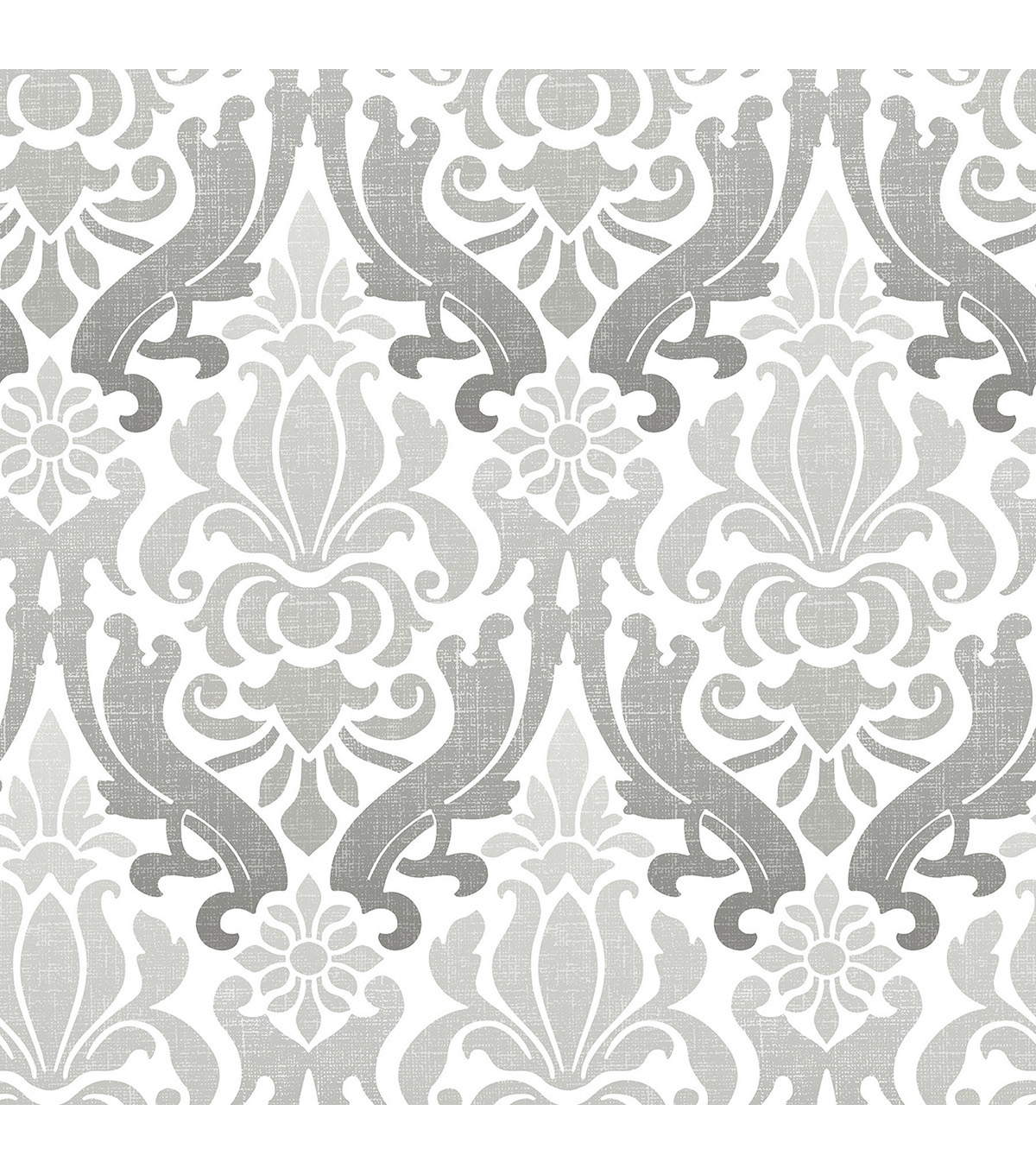 Wallpops NuWallpaper Peel & Stick Wallpaper Swatch 8x10\u0022-Gray Nouveau Damask