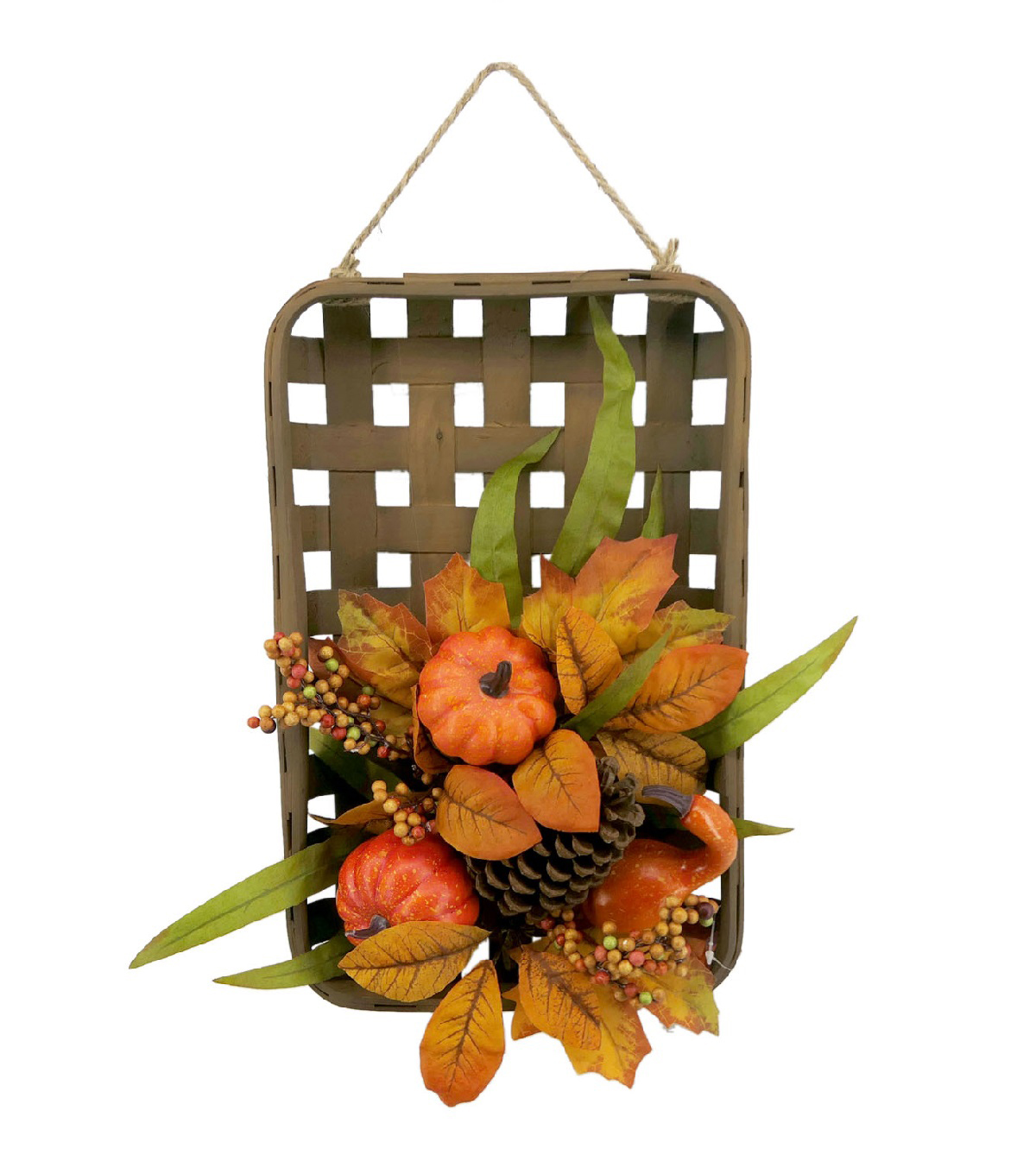 Blooming Autumn Basket Wall Decor with Pumpkins & Berries-Orange