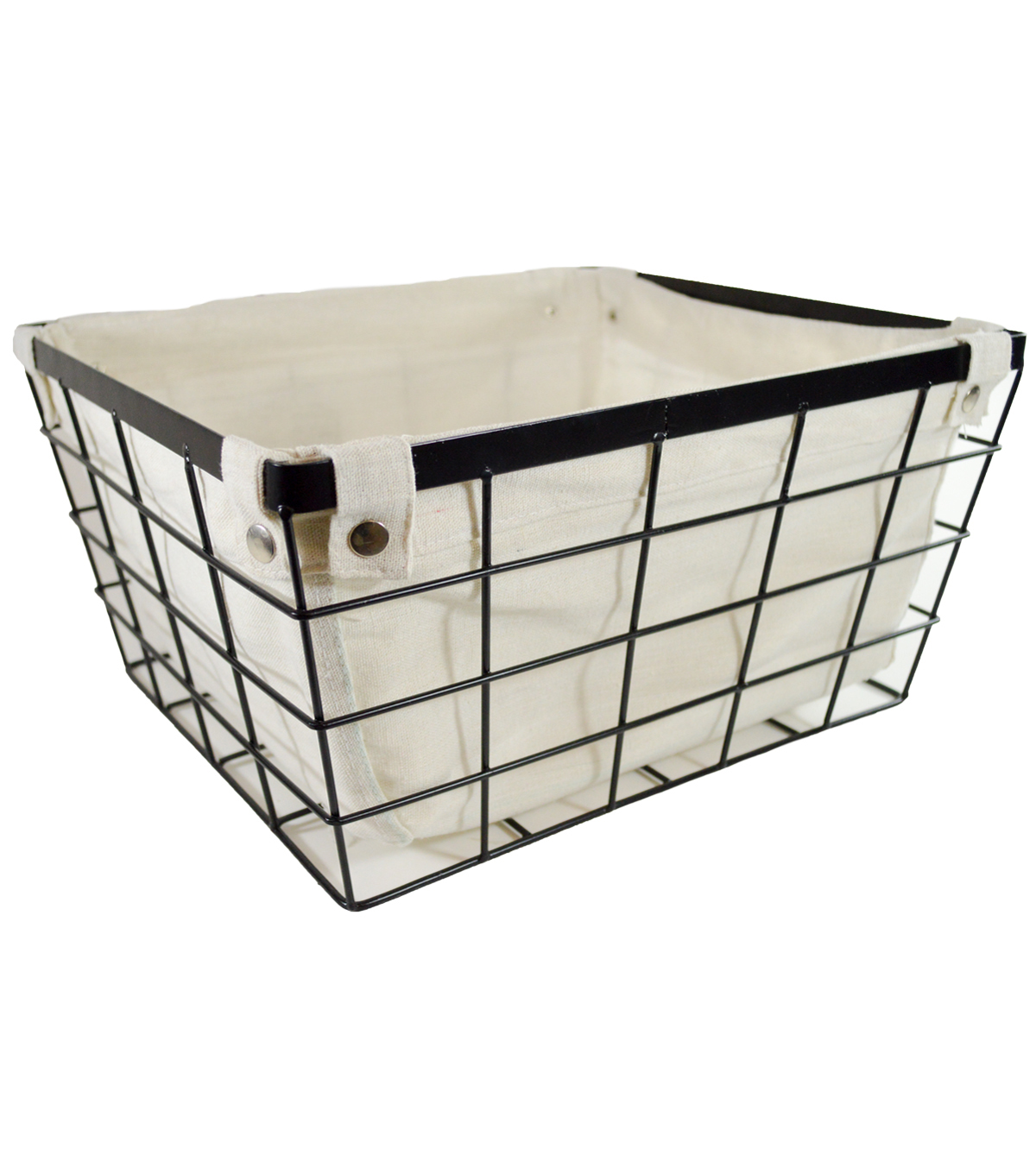 Large Laundry Storage Metal Wire Basket With Liner Black