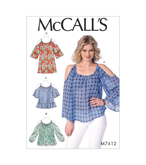 McCall\u0027s Pattern M7412 Misses\u0027 Gathered, Cold-Shoulder Tops & Tunic