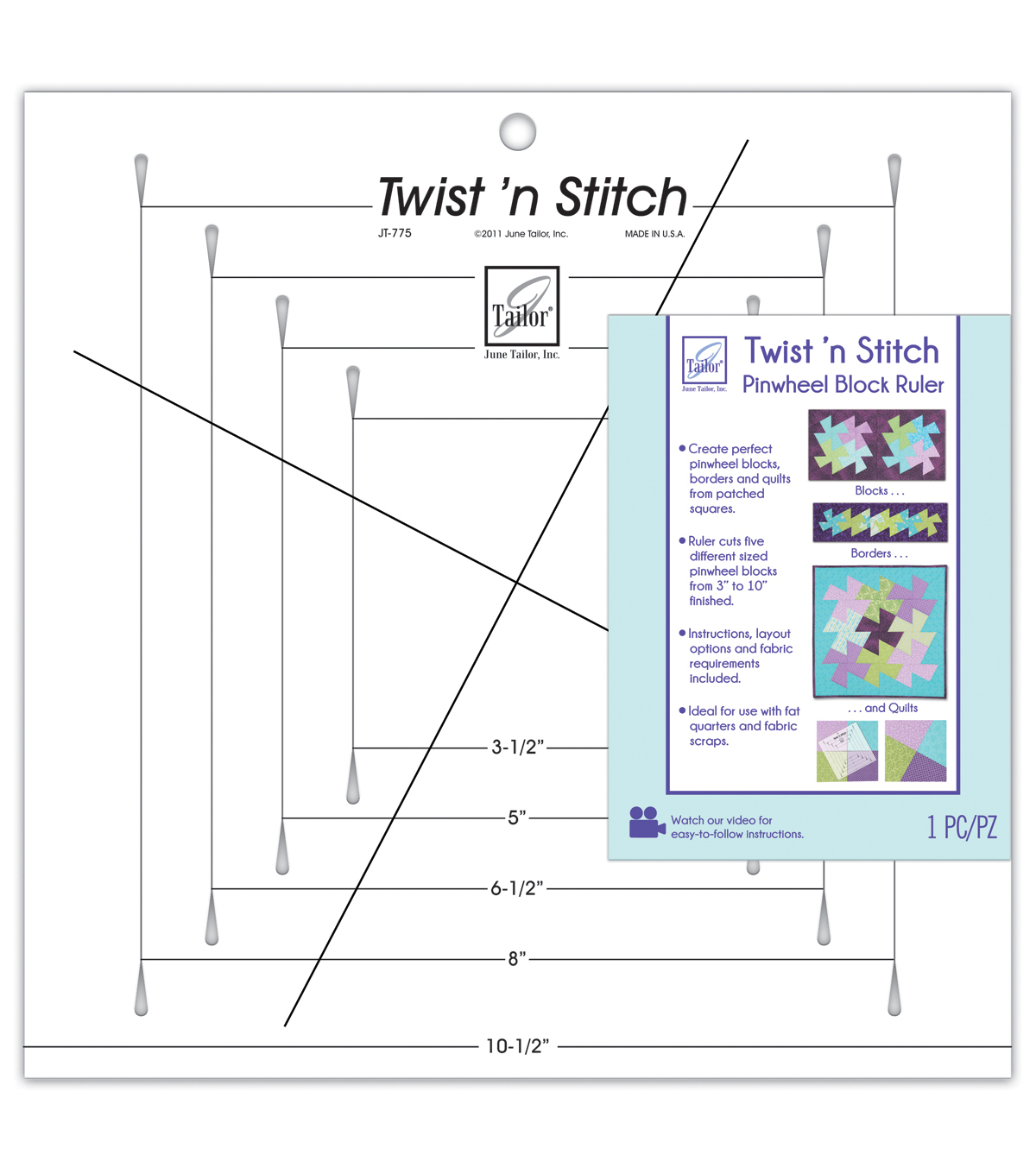 June Tailor Twist \u0027n Stitch Pinwheel Block Ruler