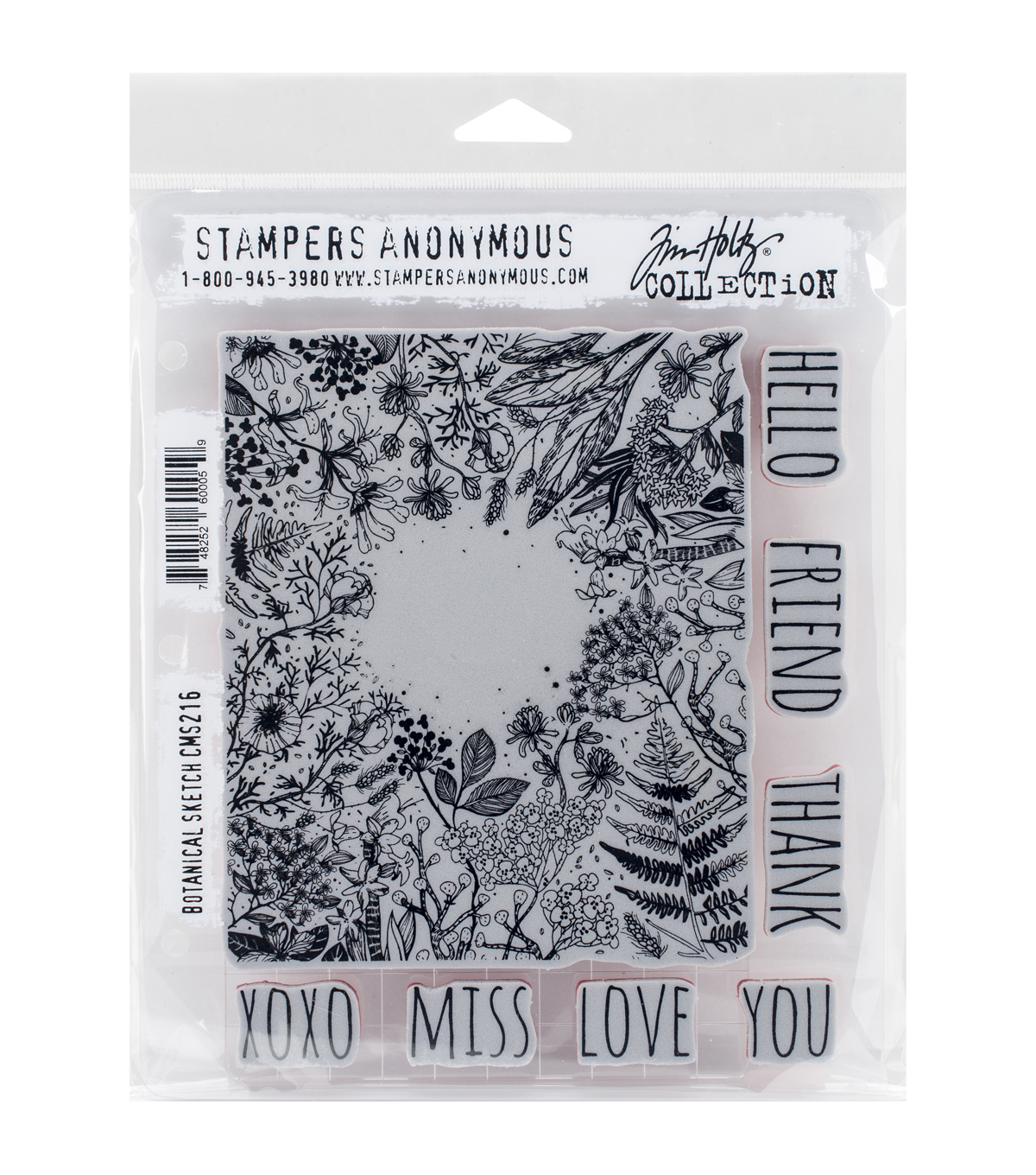 Tim Holtz Cling Stamps 7\u0022X8.5\u0022-Botanical Sketch