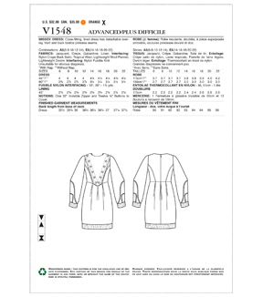 Vogue Pattern V1548 Misses\u0027 Lined Princess Seam Dress-Size 14-22