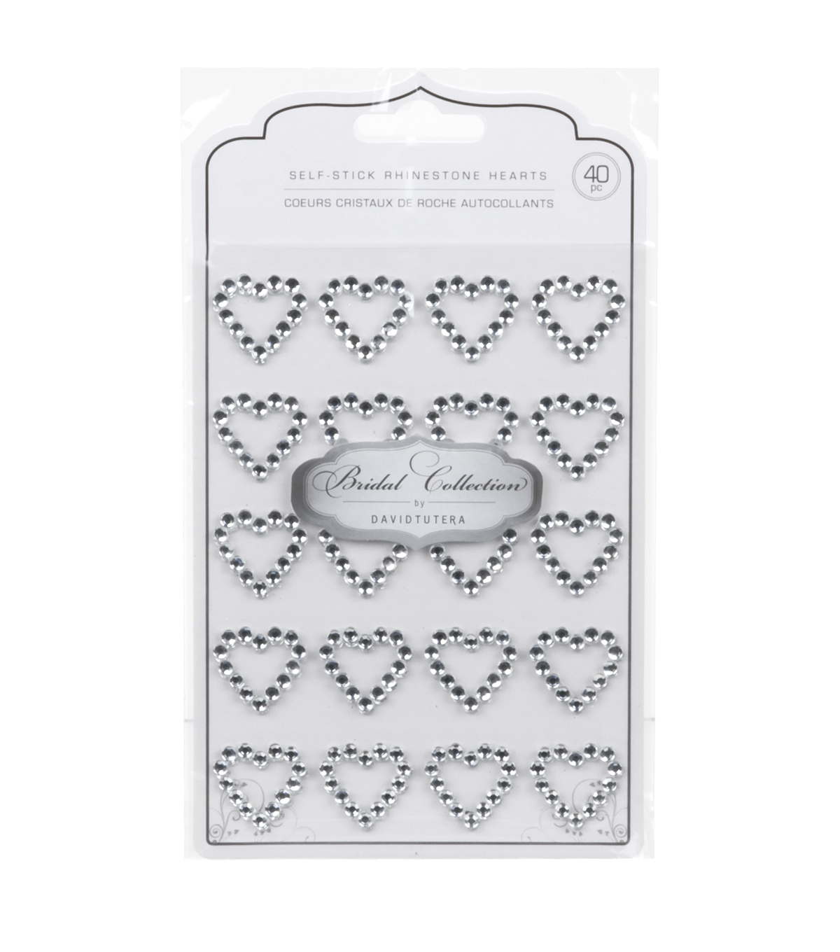 David Tutera 4 mm Self-Adhesive Rhinestones-40PK/Hearts
