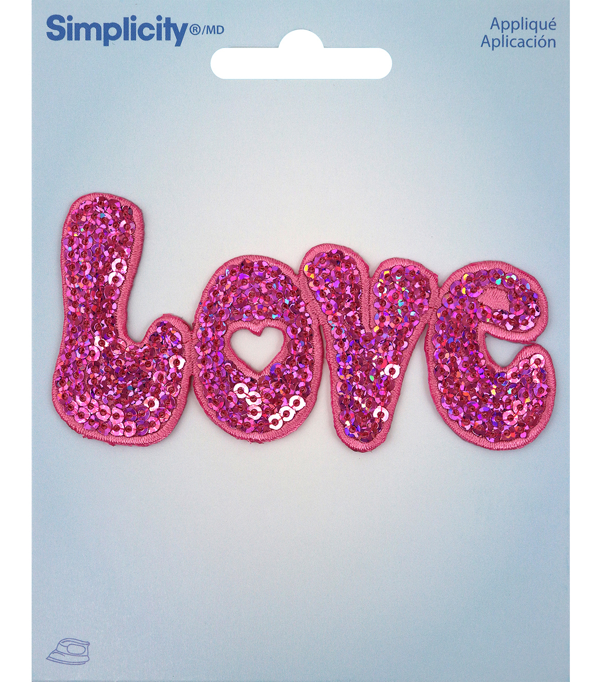 Simplicity Love Iron-on Applique with Sequins-Pink