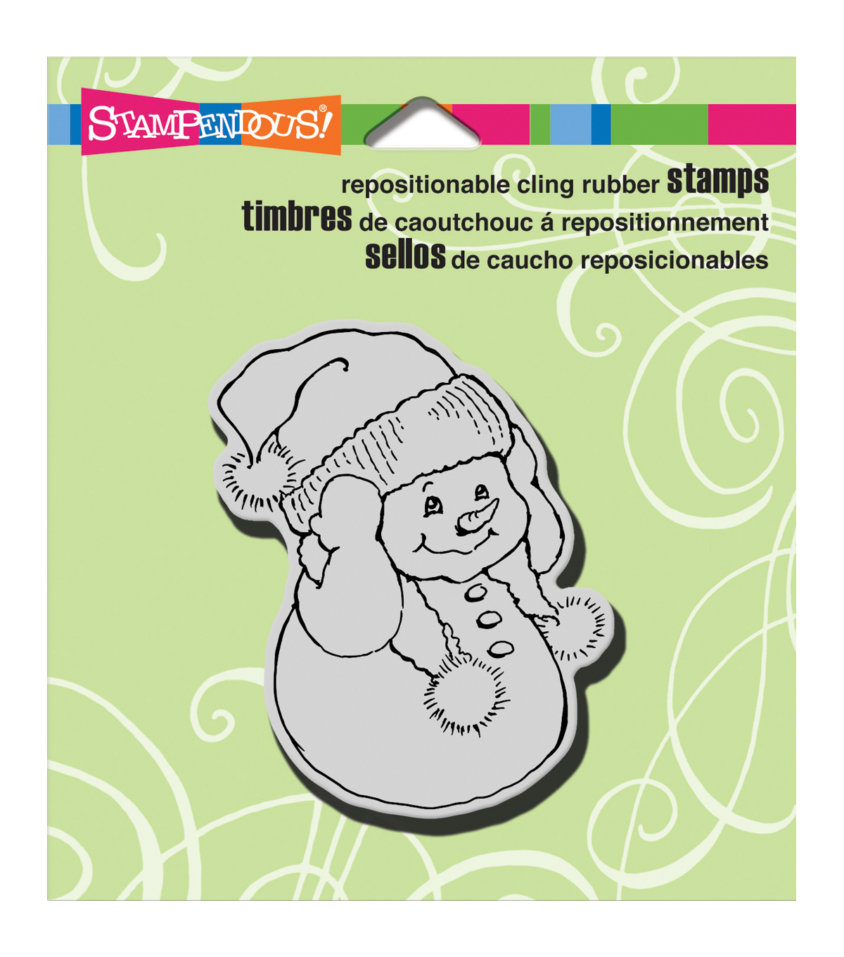 Stampendous Christmas Cling Rubber Stamp 3.5\u0022X4\u0022 Sheet-Snowman Warm Ears