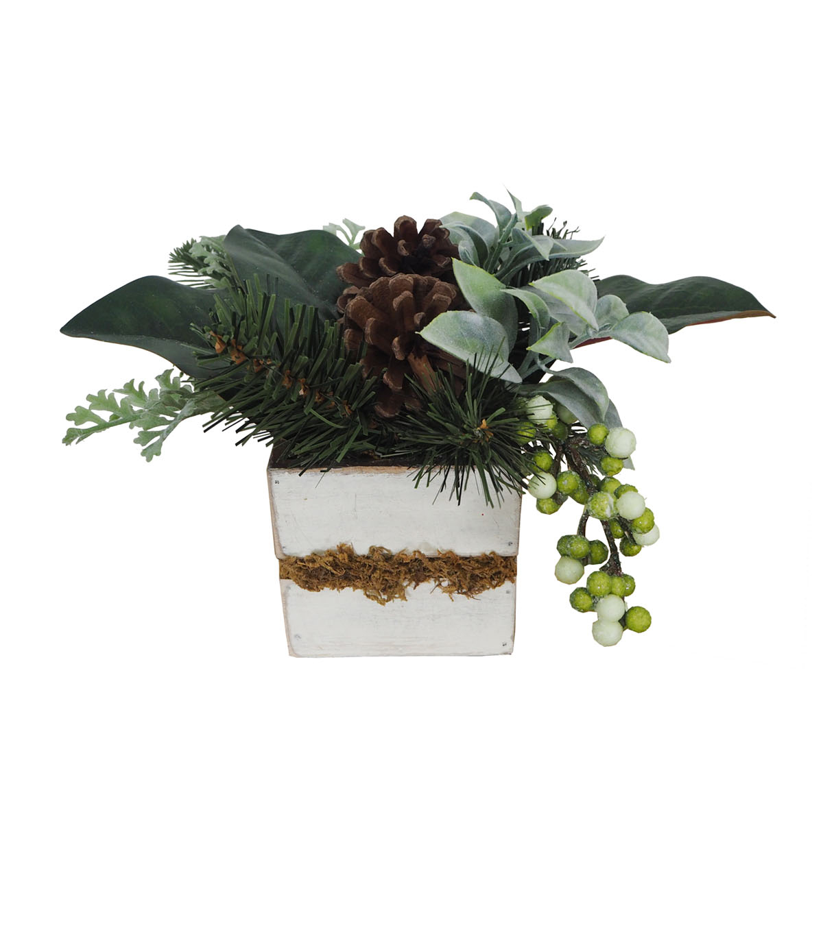 Blooming Holiday Farm Magnolia Leaf, Greenery & Pinecone Arrangement