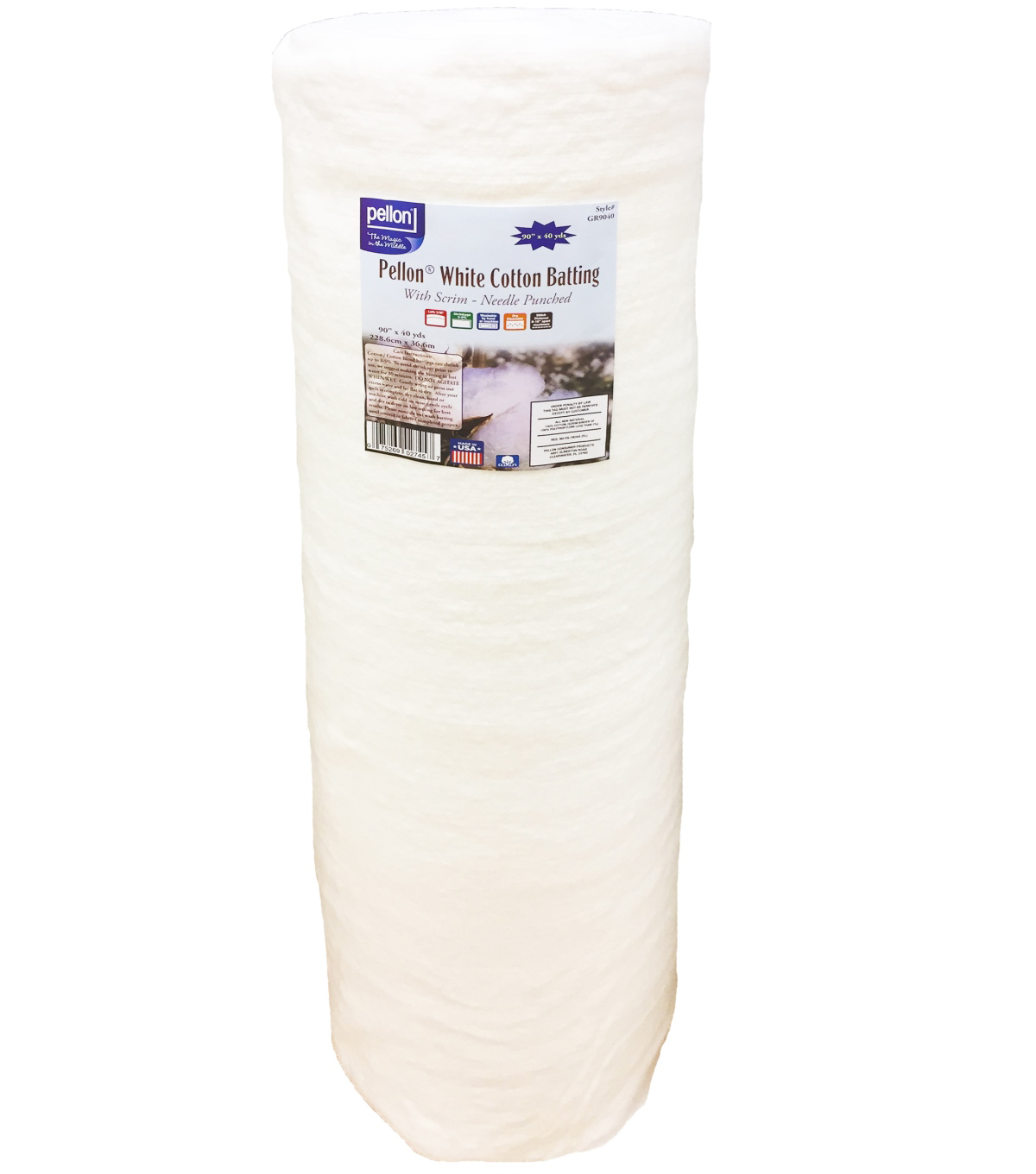 Pellon White Cotton Batting with Scrim 90\u0022x40yd Roll-Needle Punched