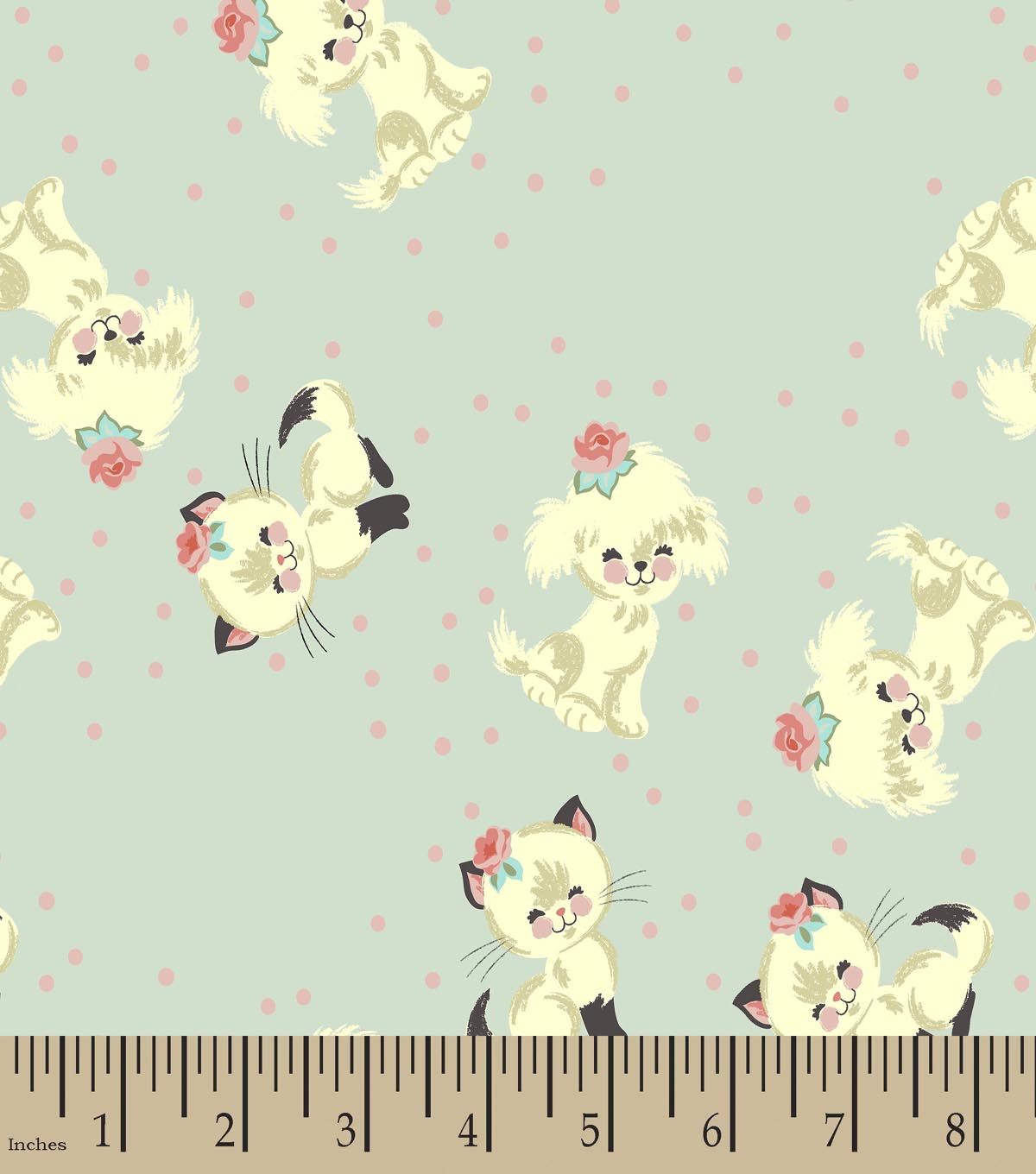 Cutie Pie Kitty and Puppy Print Fabric